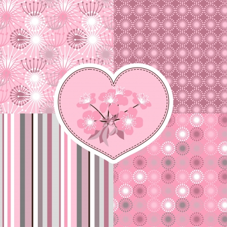 Cherry blossom seamless stylized flowers 4 patterns  Vector
