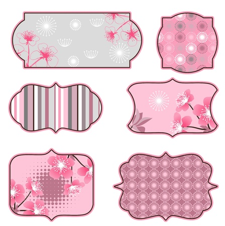 Cherry blossoms design elements, labels and stickers  Vector