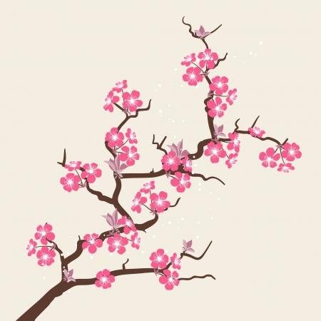 japanese garden: Card with stylized cherry blossom flowers