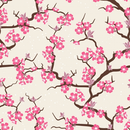 japanese garden: Cherry blossom seamless flowers pattern