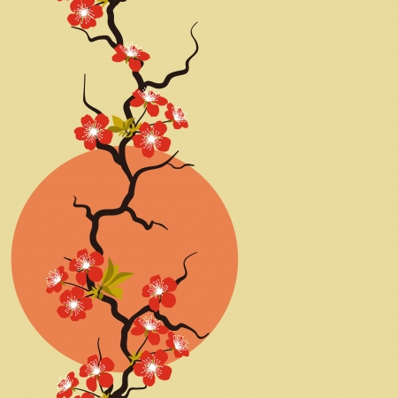 Card with stylized cherry blossom flowers  Vector