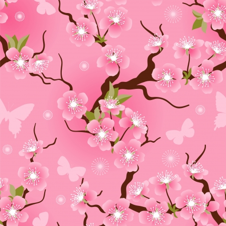 Cherry blossom seamless flowers pattern  Stock Vector - 17284054