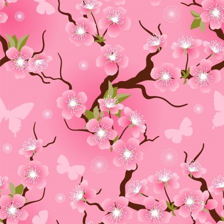 Cherry blossom seamless flowers pattern Stock Vector - 17284054