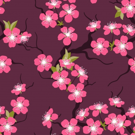 cherry blossoms: Cherry blossom seamless flowers pattern