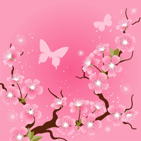 cherry pattern: Card with stylized cherry blossom flowers