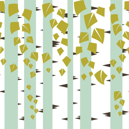 brushwood: Seamless vector texture with green trees of birch  Illustration