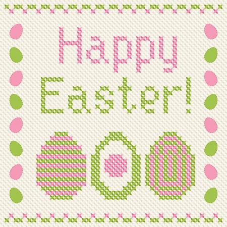 punto cruz: Feliz Pascua de bordado en punto de cruz de tarjetas de felicitación Vectores