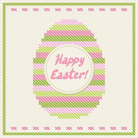 punto de cruz: Feliz Pascua de bordado en punto de cruz de tarjetas de felicitaci�n Vectores