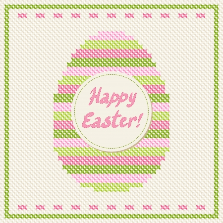 Happy Easter embroidery cross-stitch greeting card Stock Vector - 17285465