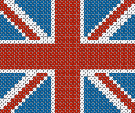 Great Britain flag background made with embroidery cross-stitch  Vector