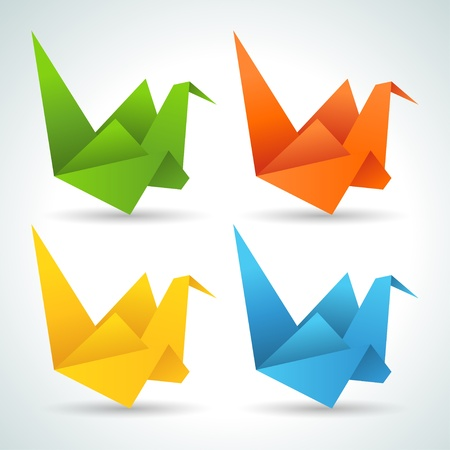 Origami paper birds collection  Vector