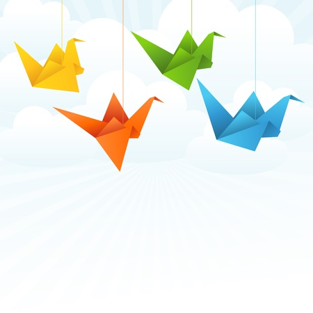 crane origami: Origami paper birds flight abstract background  Illustration