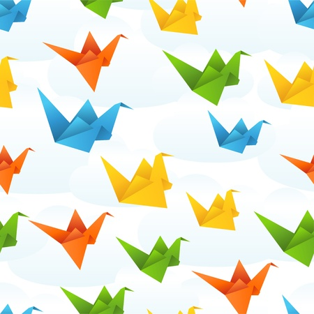 origami pattern: Origami paper birds flight abstract background  Illustration