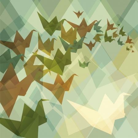 Origami paper birds geometric retro background  Vector