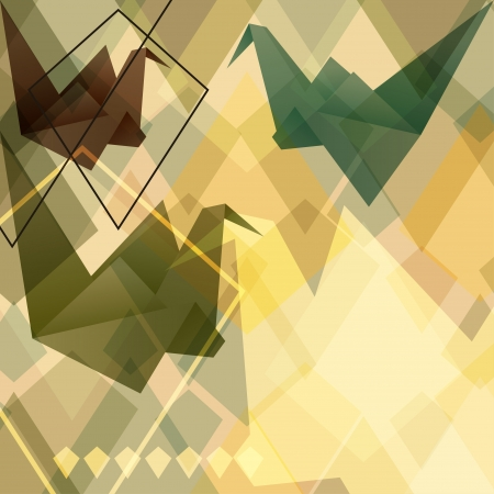 crane fly: Origami paper birds geometric retro background  Illustration