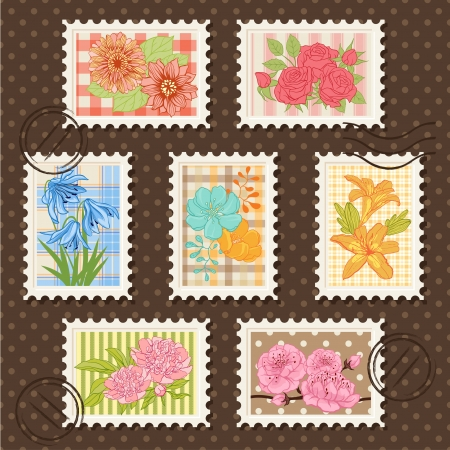 Vector postage stamps set  Flower collection  Vector