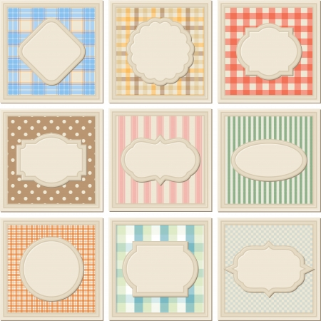 checked fabric: Vintage patterned card templates set