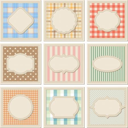 chevron: Vintage patterned card templates set