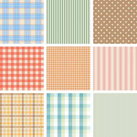 checked background: Set of 9 seamless abstract retro pattern   Illustration