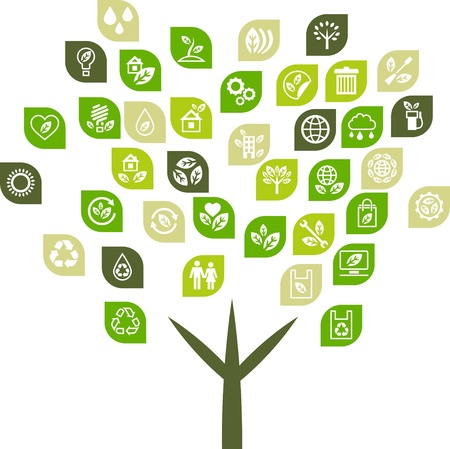 clean energy: Tree background of eco web icons
