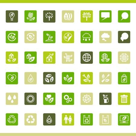 green light bulb: Collection eco web icons