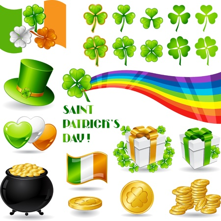 Collection illustrations of Saint Patrick s Day symbols  Vector