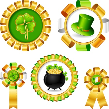 Award ribbons with Saint Patrick s day objects  Vector