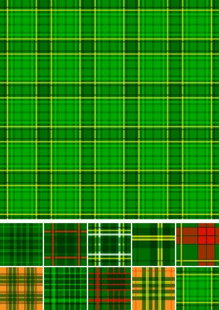 Tartan, plaid seamless 10 patterns  Vector