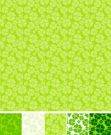 four leafed clover: Collection of clover patterns, for Saint Patrick Day