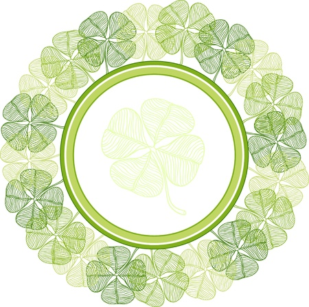 four leafed: Background with abstract clover leaves