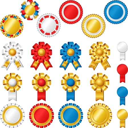 honours: Blank award ribbon rosettes Illustration