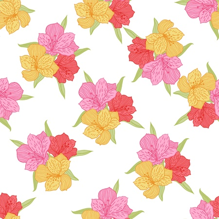 Abstract elegance seamless flower pattern with orchid  Vector