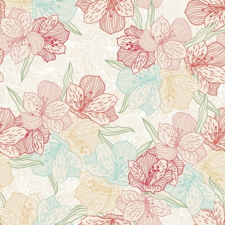 flower line: Abstract vintage seamless flower pattern with orchid