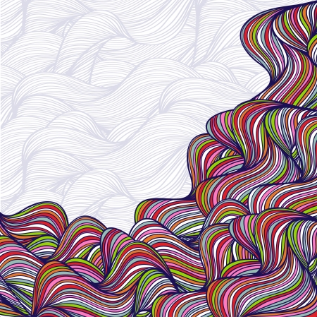 wild hair: Abstract hand-drawn waves background