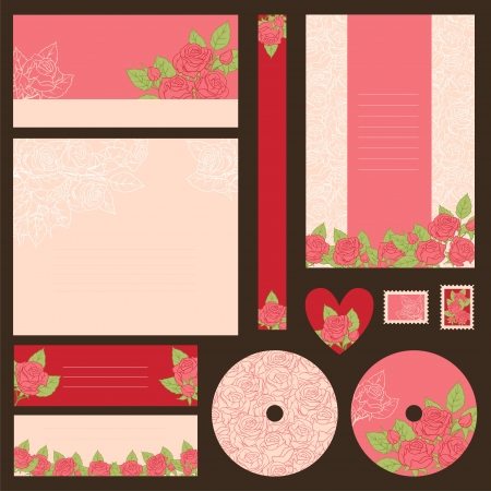 love letters: Set of wedding invitations with flowers background
