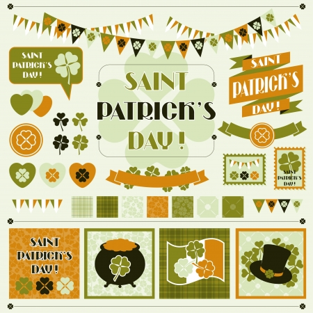 Collection design elements of Saint Patrick s Day  Vector