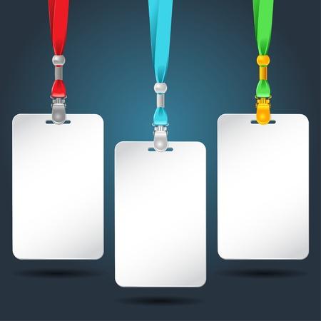 Set of blank badges with color neckbands