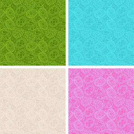 easter background: Happy Easter egg seamless patterns set