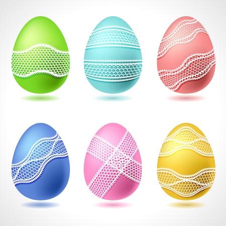 huevo caricatura: Juego de 6 vectoriales Huevos de Pascua con la cinta del cord�n Vectores