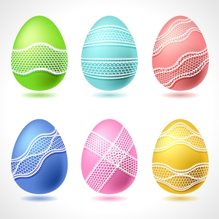 handwork: Set of 6 vector Easter Eggs with lace ribbon  Illustration