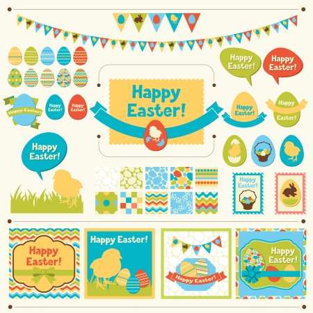 easter chick: Set of Happy Easter ornaments and decorative elements