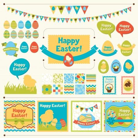 Set van Happy Easter ornamenten en decoratieve elementen Stock Illustratie