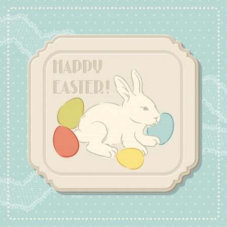 rabbit silhouette: Happy Easter retro greeting card