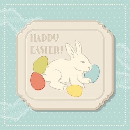 lapin silhouette: Joyeuses Pâques Carte de voeux rétro