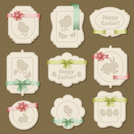 Set of Easter labels, tags with bows and ribbons  Vector