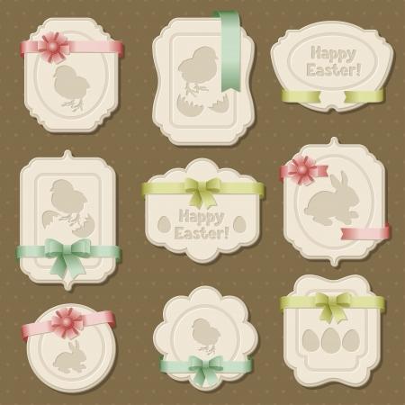 Set van Pasen labels, tags met strikken en linten Stock Illustratie