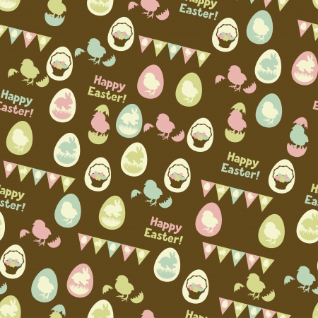 Happy Easter retro seamless pattern  Vector