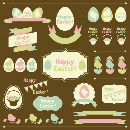 brown egg: Set of Happy Easter ornaments and decorative elements