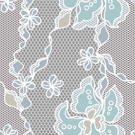 needlecraft: Lace fabric seamless pattern with abstact flowers