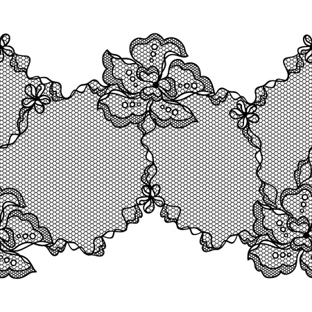 Lace fabric seamless border with abstact flowers  Stock Vector - 17925394